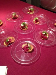 Tuna Tartare with lemon and micro celery on a vinegar potato chip