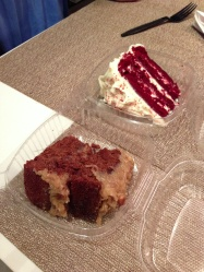 Red Velvet and German Chocolate cakes