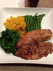 Tilapia with spinach, green beans and yellow rice