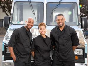 "The Slide Show team-Das Smith, Ahren Samuel and Maurice 'Mo"" McQueen. Photo credit to Food Network Blog"