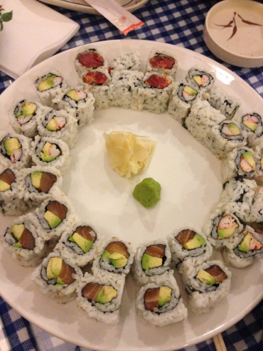 Assorted Sushi Rolls: California, Salmon and Spicy Tuna