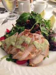 Warm Sliced Grilled Chicken Breast on Mixed Greens with Currants & Pecans