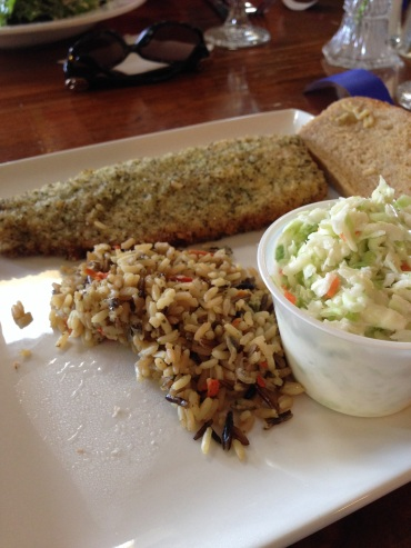 Whitefish with rice and coleslaw