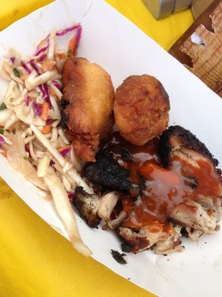 Jerk chicken with coleslaw