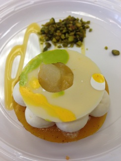 Coconut Lime Dacquoise With Mango Olive Jelly Coconut Mousse by Ebow Dadzie Pastry Chef, NY Marriott Marquis