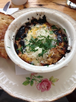 Baked eggs, celery root and oyster mushrooms