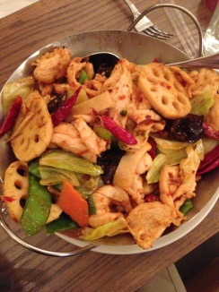 Dry Pot: ​mushrooms, green peppers, red peppers, onions, ​and lotus root