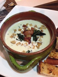 Cheese soup with guanciale fat potatoes