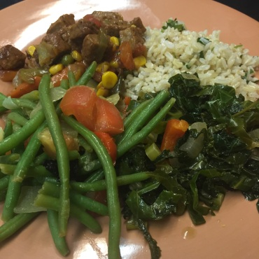 """Greens, """"beef"""" stew and grains"""