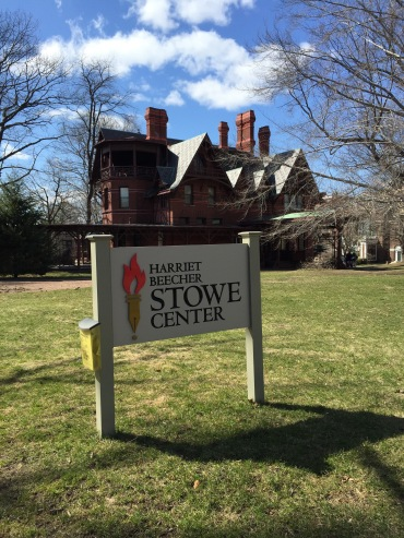 Mark Twain's home behind the Harriet Beecher Stowe Center