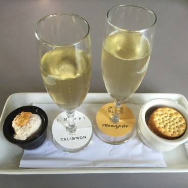 Sparkling wine and cheese at Mawby's