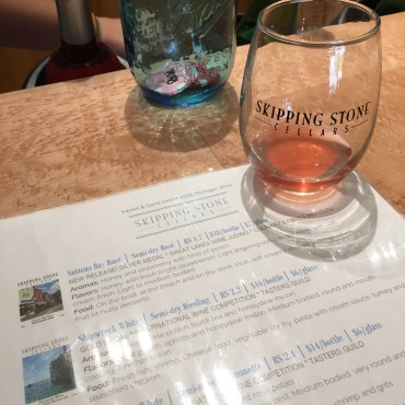 Wine tasting at Skipping Stone Cellars