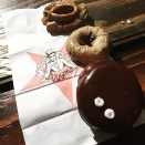 Maple Frost, Chocolate and Portland Cream donuts from Voodoo Donut