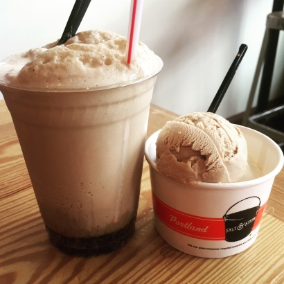 Root Beer Float, along with a cup of Sea Salt with Caramel Ribbons and Stumptown Coffee/Burnside Bourbon flavors