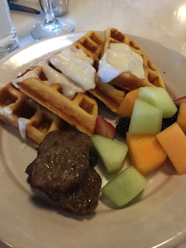 Waffles with turkey sausage